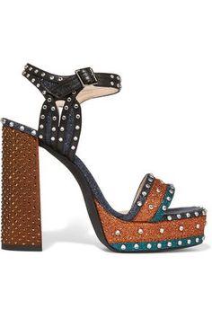 b66e760912a Shop on-sale LANVIN Embellished glittered leather platform sandals. Browse  other discount designer High Heel   more on The Most Fashionable Fashion  Outlet