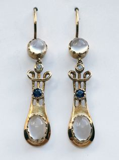 MURRLE BENNETT & Co 1896-1916 - Art Nouveau Earrings. Gold Moonstone Sapphire Diamond. Marks: '15ct'. Anglo-German, c.1900