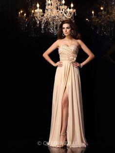 A-Line/Princess Sweetheart Chiffon Sleeveless Floor-Length Hand-Made Flower Dresses