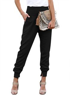 Amazon.com: Dokotoo Womens Ladies Fashion Casual Summer Side Pockets Solid High Waistband Cotton Comfy Jogging Jogger Pants Sweatpants Black M: Clothing Slim Fit Joggers, Black Joggers, Camo Joggers, Trousers Women, Pants For Women, Pink Trousers, How To Hem Pants, Joggers Womens, Jogger Pants