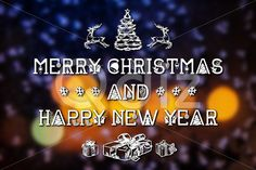 Qdiz Stock Photos | Merry Christmas and New Year greeting card,  #background #blur #blurred #blurry #bokeh #card #celebration #Christmas #draw #drawing #eve #fantastic #fantasy #glowing #greeting #hand #holiday #light #magic #Merry #new #postcard #retro #season #traditional #vintage #winter #xmas #year #yellow