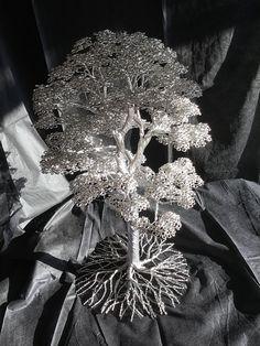 Aluminum wire tree sculpture bonsai