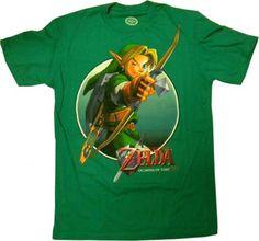 Nintendo Legend of Zelda Link Aim Green Mens Shirt 17001