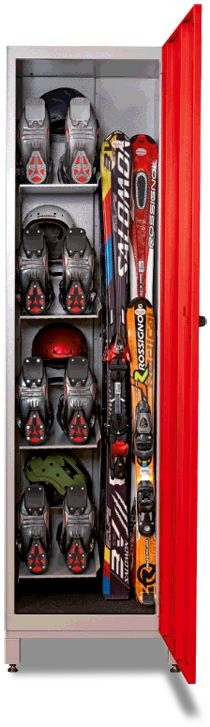 Ski locker with shelf for helmet