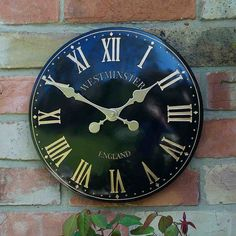 """Outside In Westminster Tower Wall Clock - 15"""" Black   Garden Clocks   Electrical…"""
