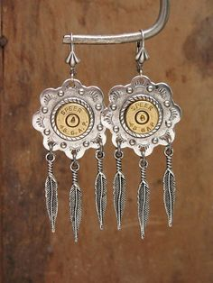Bullet Casing Jewelry - Southwest Style Bullet Casing - Concho and Feather Leverbacks - Available in Antique Silver or Antique Brass
