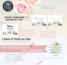 Happy Birthday Template, Baby Shower Cupcake Toppers, Virtual Baby Shower, Shower Banners, Diaper Raffle Tickets, Baby Shower Thank You, Baby Shower Diapers, Thank You Tags, Watercolor Design