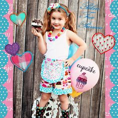 I HEART CUPCAKES  Apron shorts by PalmTreePrincess