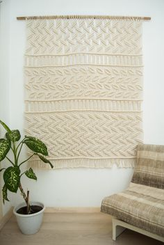 PROMO PRICE Modern macrame curtain macrame wall by TheWovenDream