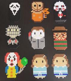 Horror Friends by KatSprites on Etsy Perler Bead Templates, Diy Perler Beads, Pearler Bead Patterns, Perler Bead Art, Perler Patterns, Pearler Beads, Loom Patterns, Beading Patterns, Cross Stitch Patterns