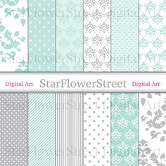 Damask Digital Paper Aqua Grey Gray mint turquoise Polka Dot Scrapbook Stripe patterns DIY bridal baby shower invitation decoration download by StarFlowerStreetDA