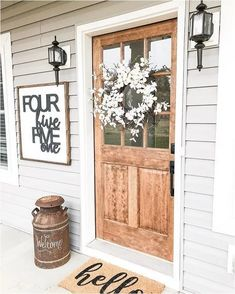 room decor Inspiration front doors - 68 Gorgeous And Inviting Farmhouse Style Porch Decorating Ideas Front Door Colors, Front Door Decor, Country Front Door, Front Door Entry, Front Door Signs, Home Renovation, Home Remodeling, Home Design, Farmhouse Front Porches
