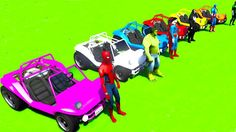 Colors cars cartoon for kids spiderman and superheroes