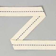 Fita de sarja Pesponto 12 (15) - Algodão - azul petróleo - branco antigo