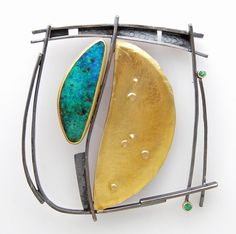 "Opal Frame pin/pendant | Sydney Lynch ""Opal Frame pin/pendant: Boulder opal, emerald, 18k & 22k gold, oxidized silver. 2 1/4 inches square.  $3300."""
