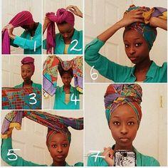 Conseils de coiffure, comment nouer un foulard africain sur la tête, enroulé autour des cheveux à l'antillaise avec les cheveux frisé, bouclés, afro.