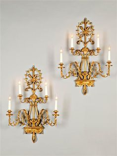 An elegant pair of wall lights, Italy, circa 1785