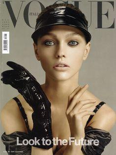 Sasha Pivovarova on the cover of Vogue Italia, photographed by Craig McDean.