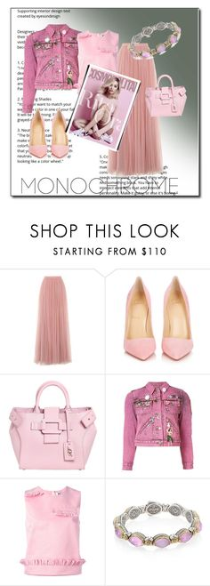 """Pink monochrome"" by ec300 ❤ liked on Polyvore featuring Little Mistress, Christian Louboutin, Roger Vivier, Marc Jacobs, MSGM and Konstantino"