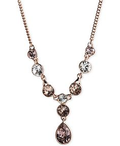 Givenchy Rose Gold-Tone Glass Stone Y-Shaped Necklace