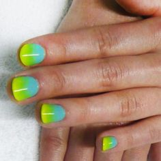 Ombre blue and green nail art
