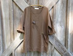 Reserved for Ivy    SALE WAS 135. NOW 69. in tobacco brown linen big button tunic top ready to ship