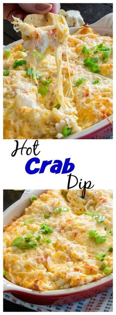 Hot Crab Dip – an easy and delicious cheesy dip that will be a hit and any party. A slightly spicy crab dip that is ready in minutes. | Pinterest