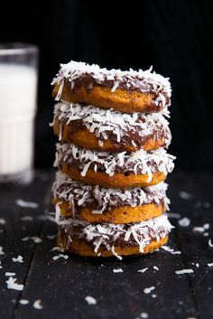 Baked Sweet Potato Doughnuts with Dark Chocolate and Coconut