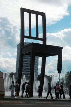 A giant chair with a broken leg in Geneva, Switzerland