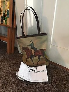 e0e3656254e GiGi New York Tote Bag With Equestrian Horse Design Canvas And Leather    Clothing, Shoes