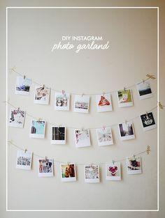 Create your own DIY Instagram Photo Garland using polaroid style prints, string and mini wooden pegs. Great for decorating a rented flat or student halls! ähnliche tolle Projekte und Ideen wie im Bild vorgestellt findest du auch in unserem Magazin