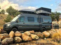 Sportmobile Sprinter van with Aluminess gear set up for a great … - van life Camper Life, Truck Camper, Camper Trailers, Mercedes Sprinter Camper, Sprinter Van, Ambulance, Motorhome, Custom Camper Vans, Adventure Trailers