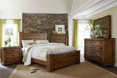 Maverick Rustic Wood Ches 5pc Bedroom Set w/King Panel Bed