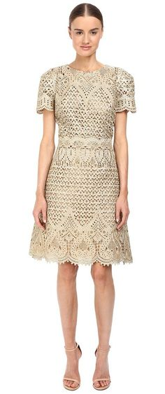 Marchesa Ornate Laser-Cut and Threadwork Brocade Cocktail with Cap Sleeves (Gold) Women's Dress - Marchesa, Ornate Laser-Cut and Threadwork Brocade Cocktail with Cap Sleeves, M15916, Apparel Top Dress, Dress, Top, Apparel, Clothes Clothing, Gift - Outfit Ideas And Street Style 2017