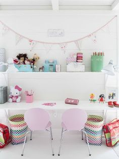 Cute study or art space for girls.