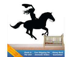 Cowgirl & Horse  Wall Decal  Country Western by WallArtForAllAges, $40.00