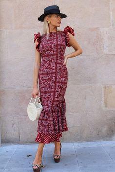 The Frida Bandana Bandana Dress, Red S, Stylish Dresses, Feminine Style, Summer Collection, Girl Photos, Old School, Fashion Outfits, Clogs