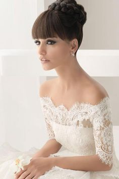 Updo with a fringe