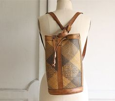 woven leather backpack / ethnic drawstring bucket bag #vintage #bag #accessories $95