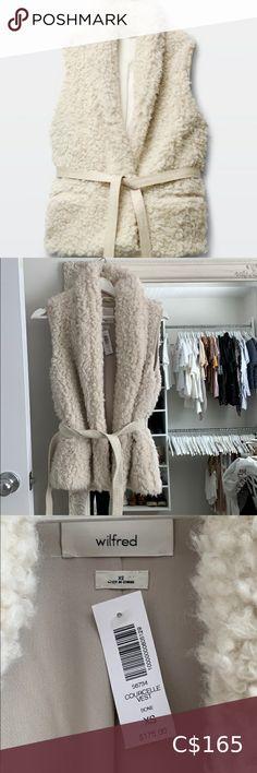 Aritzia Wilfred Courcelle Vest Bone colour, Xs but can fit a small. NWT. Paid $175 +tax. Wilfred Jackets & Coats Vests Wool Vest, Knit Vest, Vest Jacket, Cargo Vest, Bone Color, Black Vest, Vintage Shorts, Sweater Hoodie, Vests