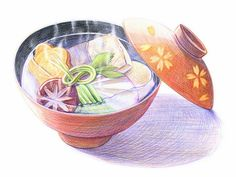 Japanese Noodle - Colored Pencil Drawings of Japanese Foods 5 - Wallcoo.net