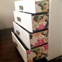 Add some wallpaper to the sides of drawers (use Modge Podge) for an unexpected pop of color.