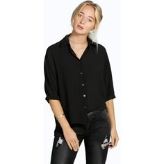 Boohoo Laura Oversized Woven Boyfriend Shirt ($26) ❤ liked on Polyvore featuring tops, black, baseball jersey shirts, black crop top, crop top, long sleeve jersey shirt and baseball shirts