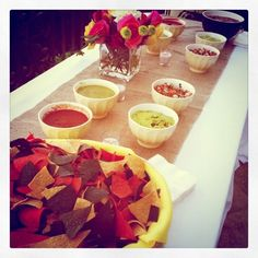 Chips and salsa bar #mexican party #nozza