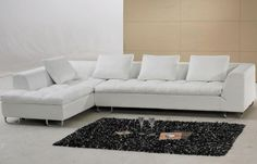 Luxurious Small Leather L Shaped Tufted Couch With Short Chaise And Low Back