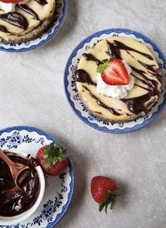 Try these banana split cheesecakes from Christina Lane's new book DESSERT FOR TWO, published by The Countryman Press (available now). Banana Split Cheesecake Recipe, Cheesecake Recipes, Cheesecake Bars, Delicious Cake Recipes, Yummy Cakes, Dessert For Two, Cake With Cream Cheese, Gluten Free Baking, Love Food