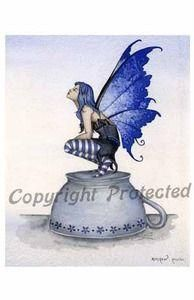 Amy Brown Fairy Note Card Faery Kitchen Helper Tea Cup