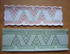 Swedish weaving bookmarks, good use of scrap monks cloth Hungarian Embroidery, Diy Embroidery, Cross Stitch Embroidery, Cross Stitches, Swedish Weaving Patterns, Loom Patterns, Broderie Bargello, Huck Towels, Chicken Scratch Embroidery