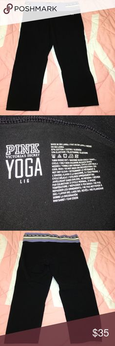 Pink capris Pink capris w. a flat purple band w. a black, white && gray stripes on the hips while the black stripe has the word pink in white letters. No tears or stains(: PINK Victoria's Secret Pants Capris