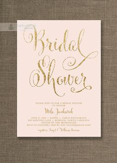 Blush Pink & Gold Bridal Shower Invitation Gold Glitter Pastel Pink Wedding Hens Party Script Modern Printable Digital or Printed - Mila